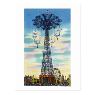 Steeplechase Park Parachute Jump Daytime Scene Postcard