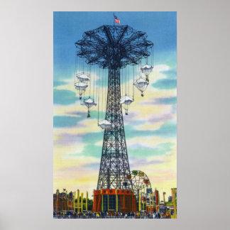 Steeplechase Park Parachute Jump Daytime Scene Poster