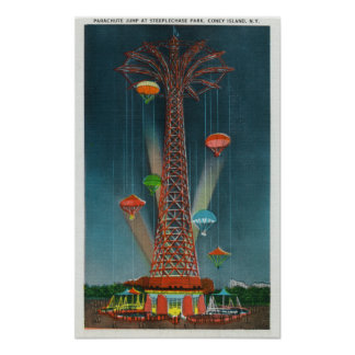 Steeplechase Park Parachute Jump View at Night Poster