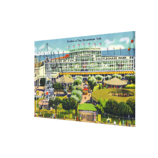 Steeplechase Park View of Pavilion of Fun Canvas Print