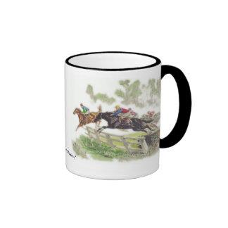 Steeplechase Scene Ringer Coffee Mug