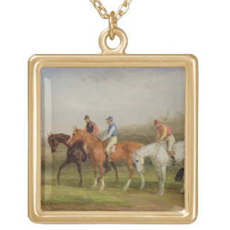 Steeplechasing: At the Start (oil on canvas) Gold Plated Necklace