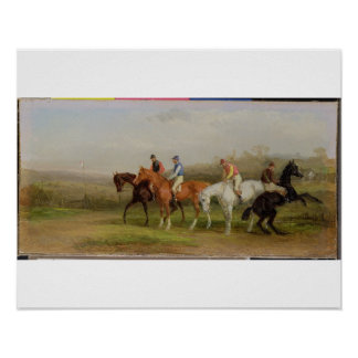 Steeplechasing: At the Start (oil on canvas) Poster