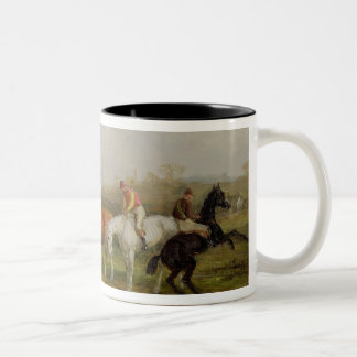 Steeplechasing: At the Start (oil on canvas) Two-Tone Coffee Mug