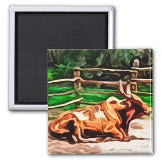 Steer bull laying down near fence painting magnet