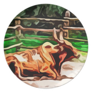 Steer bull laying down near fence painting melamine plate