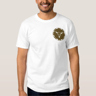Steer Head on Leather Wheel Native American Design Embroidered T-Shirt