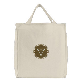 Steer Head on Leather Wheel Native American Design Embroidered Tote Bag