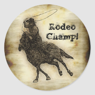 Steer Roping Rodeo Cowboy Classic Round Sticker