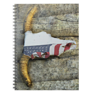 Steer Skull with the American Flag Note Book