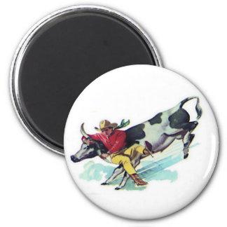 Steer Wrestling Cowboy 2 Inch Round Magnet