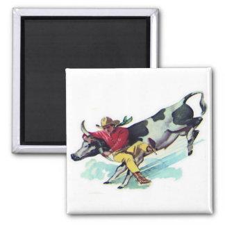 Steer Wrestling Cowboy 2 Inch Square Magnet