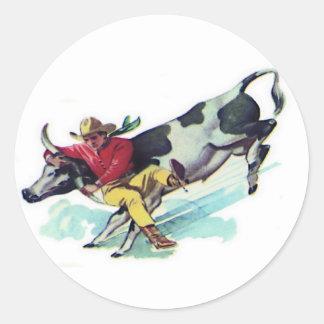 Steer Wrestling Cowboy Classic Round Sticker