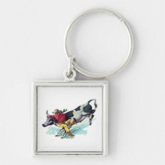Steer Wrestling Cowboy Keychain