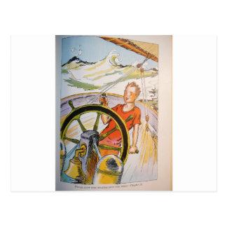steering ship postcard