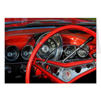 Steering wheel of the old timer card