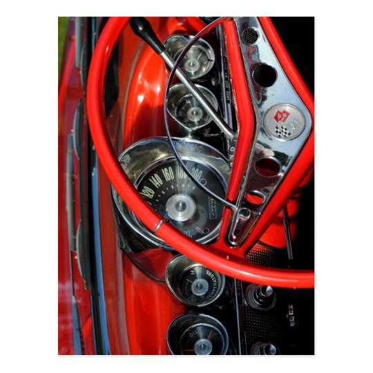 Steering wheel of the old timer postcard