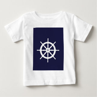 Steering wheel on navy blue background. baby T-Shirt