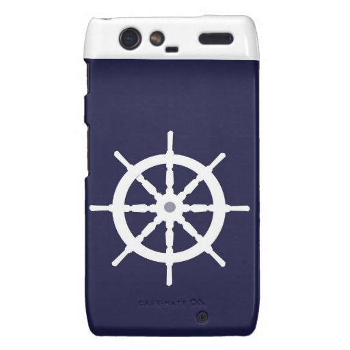 Steering wheel on navy blue background. droid RAZR cover