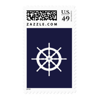 Steering wheel on navy blue background stamp