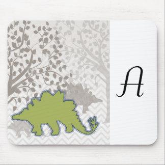 Stegosaur on Mono Zigzag Chevron Mouse Pad
