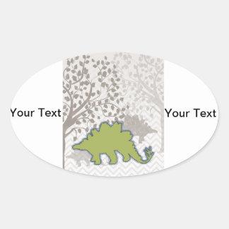 Stegosaur on Mono Zigzag Chevron Oval Sticker