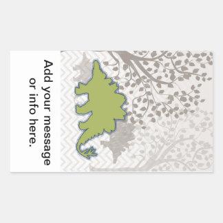 Stegosaur on Mono Zigzag Chevron Rectangular Sticker