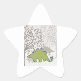 Stegosaur on Mono Zigzag Chevron Star Sticker