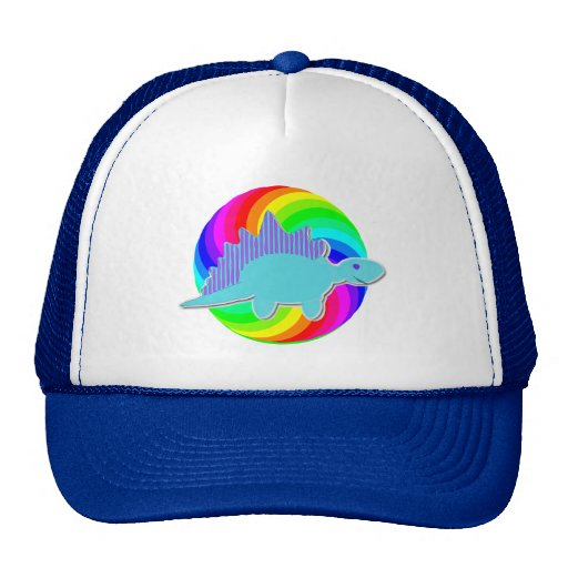Stegosaurus del azul del dinosaurio del arco iris gorros