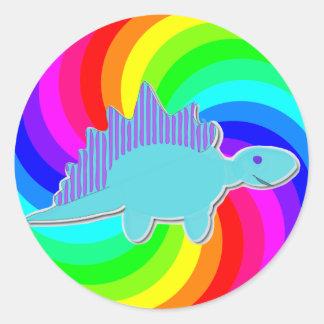 Stegosaurus del azul del dinosaurio del arco iris pegatina redonda