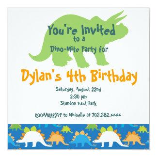 "Stegosaurus Dinosaur Birthday Party Invitations 5.25"" Square Invitation Card"