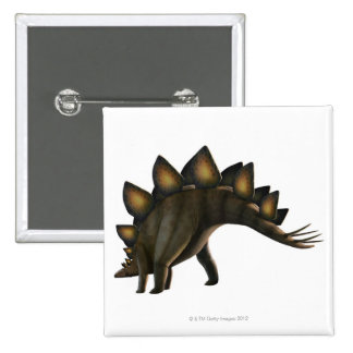 Stegosaurus dinosaur, computer artwork. pinback button