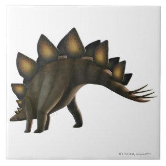 Stegosaurus dinosaur, computer artwork. ceramic tile