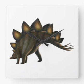 Stegosaurus dinosaur, computer artwork. square wall clock