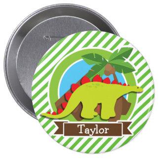Stegosaurus Dinosaur, Dino; Green & White Stripes Pins