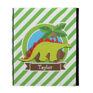 Stegosaurus Dinosaur, Dino; Green & White Stripes iPad Folio Covers