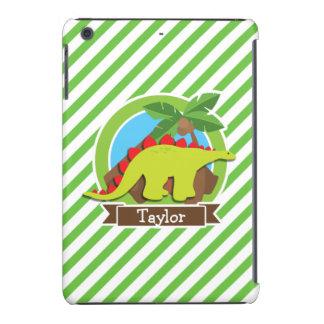Stegosaurus Dinosaur, Dino; Green & White Stripes iPad Mini Retina Covers