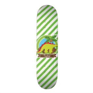 Stegosaurus Dinosaur, Dino; Green & White Stripes Skateboards