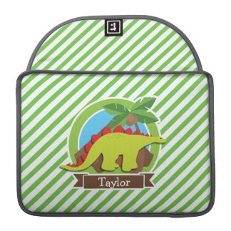 Stegosaurus Dinosaur, Dino; Green & White Stripes Sleeve For MacBook Pro