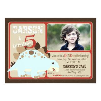 "Stegosaurus Dinosaur Fifth Birthday 5"" X 7"" Invitation Card"