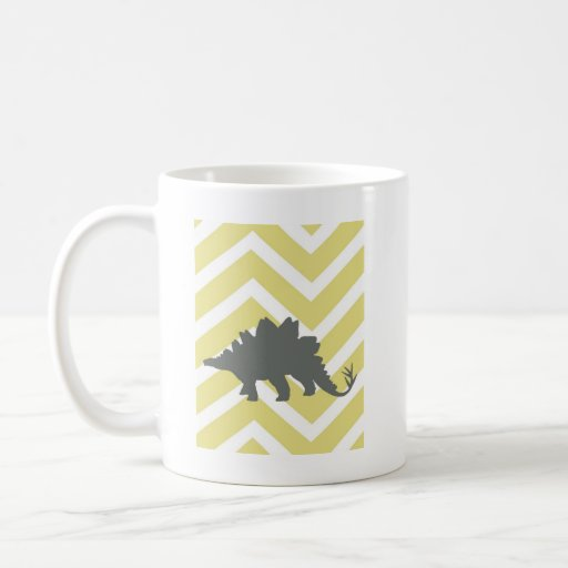 Stegosaurus en el galón del zigzag - amarillo taza de café