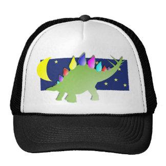 Stegosaurus en la noche con la luna y las estrella gorros