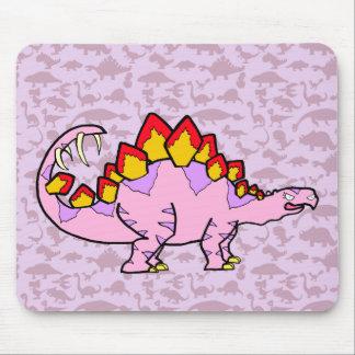 Stegosaurus femenino rosado mouse pads