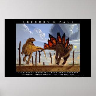 Stegosaurus Greg Paul del Allosaurus del poster de