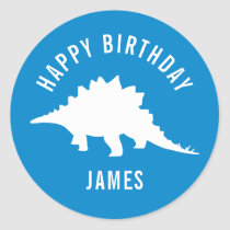 Stegosaurus Happy Birthday Party Sticker