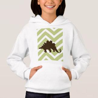 Stegosaurus on Chevron Zigzag - Green and White Hoodie