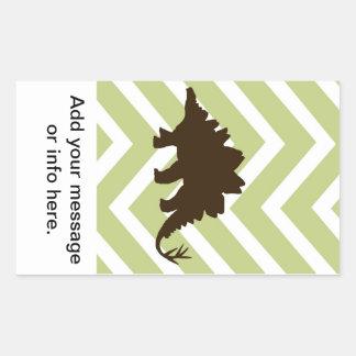 Stegosaurus on Chevron Zigzag - Green and White Rectangular Sticker