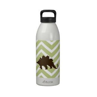 Stegosaurus on Chevron Zigzag - Green and White Drinking Bottles