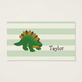 Stegosaurus on Pastel Green Stripes Business Card