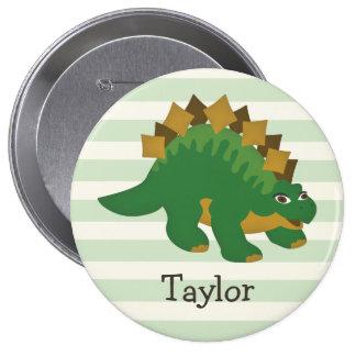 Stegosaurus on Pastel Green Stripes 4 Inch Round Button